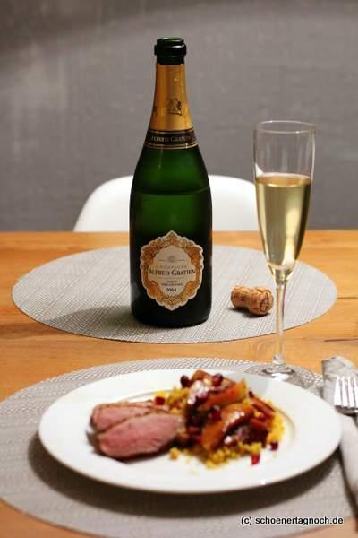Entenbrust mit Gewürz-Couscous und Alfred Gratien Champagner