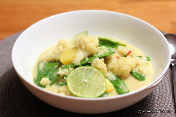Schnelles Blumenkohl-Zuckerschoten-Curry mit Kokosmilch