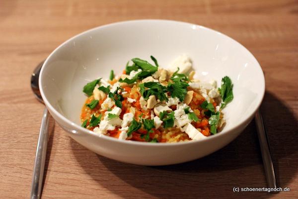 Nachgekocht: Curry-Karotten-Risotto mit Cashewkernen und Feta [Essen für Kleinkinder]