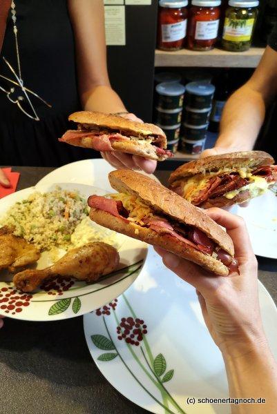 3 Pastrami-Sandwiches und ein Tagesessen bei der Metzgerei Brath in Karlsruhe.