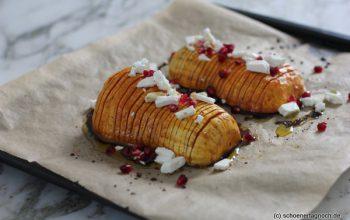 Nachgekocht: Hasselback Kürbis mit Feta und Granatapfelkernen