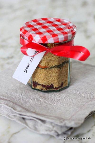 Gewürz-Couscous-Mischung, kulinarisches Geschenk aus der Küche, Mitbringsel