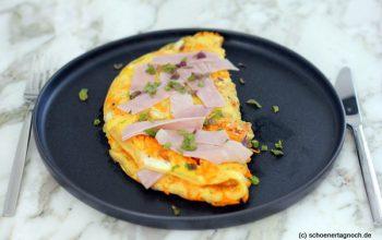 Möhren-Omelette mit Schinken und frischer Minze