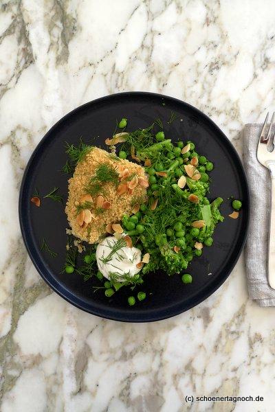 Kabeljau mit Couscous-Kruste, Brokkoli und Erbsen