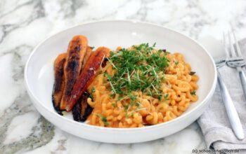 Gobbetti mit Curry-Karotten und Karotten-Ziegenfrischkäse-Sauce