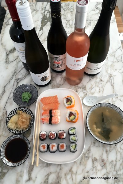 Sushi und Wein Onlinetasting vom Weinlade am Gutenbergplatz in Karlsruhe