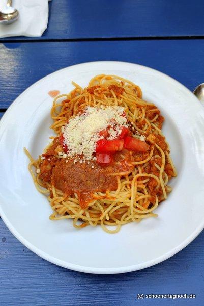 Spaghetti mit Linsen-Bolognese im Glashaus in Karlsruhe